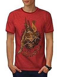 Wellcoda Bullseye War Death Skull Men S-2XL Ringer T-Shirt