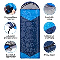 Bigzzia Sleeping Bag,3-4 Season Extra Warm & Lightweight with Hood,Portable with Compression Sack for Camping,Hiking,Travelling,Backpacking,Sleepovers-suitable for Adults & Juniors