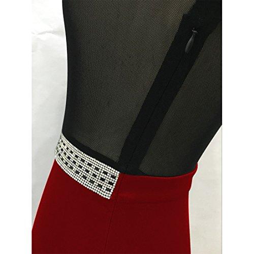 M-Queen Sexy Clubwear Mini Robe Femmes Slim Fit Soirée Cocktail Faux Diamant Grenadine Robe Rouge