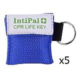 IntiPal 1/2/5/10 Stücke Beatmungsmaske Schlüsselanhänger Beatmungshilfe Notfalltuch Taschenmaske Erste Hilfe 5 Farben (5, Blue)