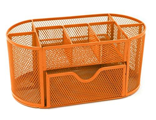 Mesh Schreibtisch Veranstalter Set Büro ordentlich Desktop Multifunktional Aufbewahrung Stift Bleistift Halter Orange Orange-halter