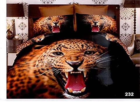 3D 4 PIECES COMPLETE BEDDING SET INCLUDES 1 DUVET COVER/QUILT COVER 1 FITTED SHEET 2 OXFORD STANDARD PILLOW CASES DESIGN ANGRY LION MATERIAL 100% POLYESTER BUT FEEL JUST LIKE SOFT COTTON SIZES AVAILABLE SINGLE DOUBLE AND KING (Double,