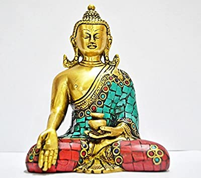 Thai Buddha Figure - Oriental Furniture Spiritual, Beautiful, New Age Graduation Gifts, 6-Inch Japanese Sitting Zen Buddhist Brass Buddha Statue- Long Ears