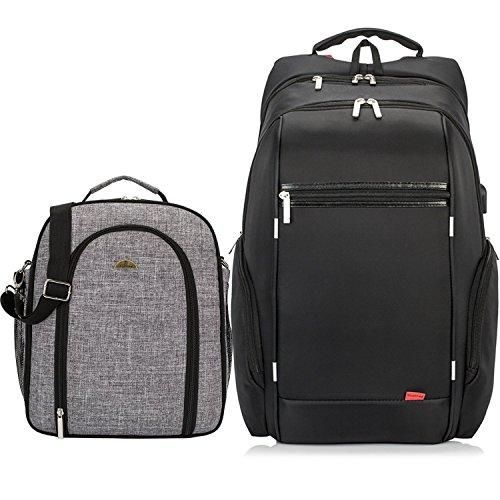 NiceEbag Rucksack Schulrucksack Business Tagesrucksack Reisen Daypack mit USB Port bis zu Laptops 17 Zoll, einschließlich 4 Person Picknick Tasche (grau) mit abnehmbarem Trageriemen und Griff(Schwarz)