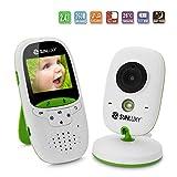 SUNLUXY Wireless Babyphone Baby Monitor Überwachungskamera mit 2,0 Zoll LCD Farb Display Transmitter und Empfänger 2-Wege Audio IR LED Nachtsicht Temperaturüberwachung Gegensprechfunktion, Weiß+Grün