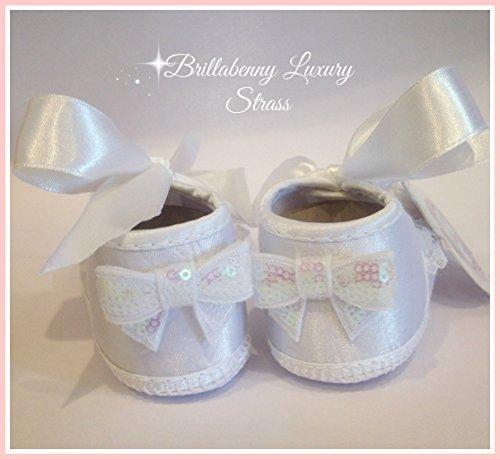 312131fe48 Caratteristiche ed informazioni su scarpine neonata baby 3-6 mesi bianche  con cristalli strass e pizzo (ballerine shoes scarpe battesimo wedding  festa party ...