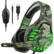 Gaming headset voor PS4 Xbox One PC hoofdtelefoon met microfoon LED licht Noise Cancelling Over Ear Compatibel met Nintendo Switch Games Laptop Mac PS3 (Camouflage Green)