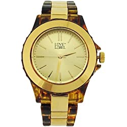 Love Label Gold Ladies Gold Dial Tortoise Shell Bracelet Strap Watch CN65.10L