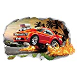 PROKTH Sticker geant mural Stickers salon Stickers salle bain Decoration chambre - pour garcon fille enfants - 3D La flamme Voiture de course 1pcs