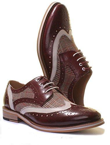 Justin Reece  Manley, Chaussures de ville à lacets pour homme Wine A