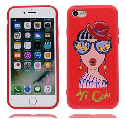 iPhone 7 Custodia, Gel TPU Soft flessibile protettivo indietro leggero Case Cover Skin Bumper iPhone 7 Copertura, Graffi Prova & elegante ( Cartoon Shell coniglio carota ) rosso 3
