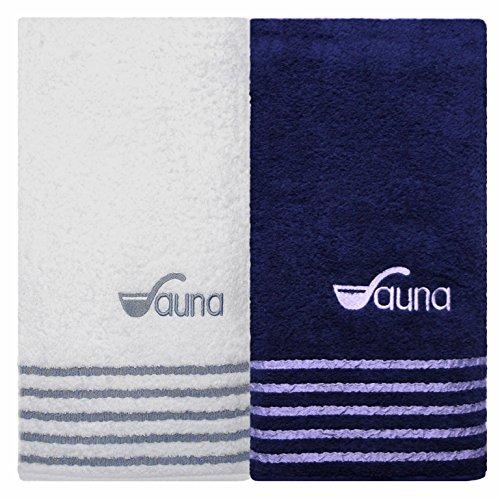 Saunatuch Badehandtuch Sport-Duschtuch im Set ( weiss / blau ) , Handtücher 80 x 200 cm, Qualität 500 g/m², 100 % Frottee Baumwolle