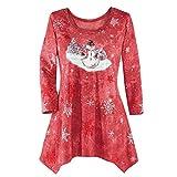 TianWlio Blusen Damen Winter Festliche Wasserfall Weihnachten Unregelmäßiger Blusen Top Rot XXXXL