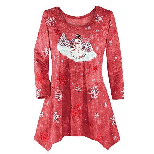 TEBAISE Xmas Damen Langarmshirt Oversize Pullover Herbst Bluse Tops Sweatshirt Frauen Lang Tops Rundhalsausschnitt Langarm Weihnachten Pullover Damen Pulli (Knaben Langarm Shirt)