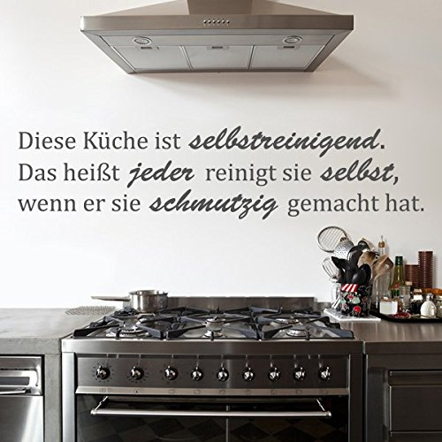 denoda Diese Küche ist selbstreinigend - Wandtattoo Schwarz 105 x 25 cm (Wandsticker Wanddekoration Wohndeko Wohnzimmer Kinderzimmer Schlafzimmer Wand Aufkleber)