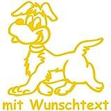 Hundeaufkleber fürs Auto - mit Wunschtext - Motiv H14 (16 cm)