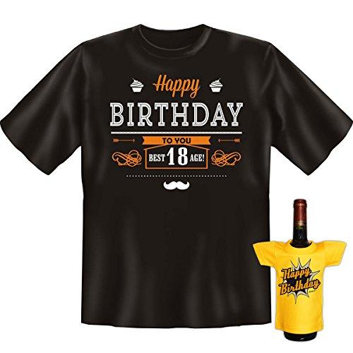 Geburtstags Set T-Shirt + Mini für die Flasche <->          Happy Birthday 18 Jahre          <->           Schwarz, ein kleines lustiges Geschenk Goodman Design® Schwarz