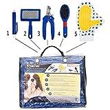 SRY-Pet clothing Kit profesional de aseo doméstico para mascotas de 5 piezas Set 5 en 1 cortador de uñas, cepillo liso, pinzas, peine y cepillo para el pelo