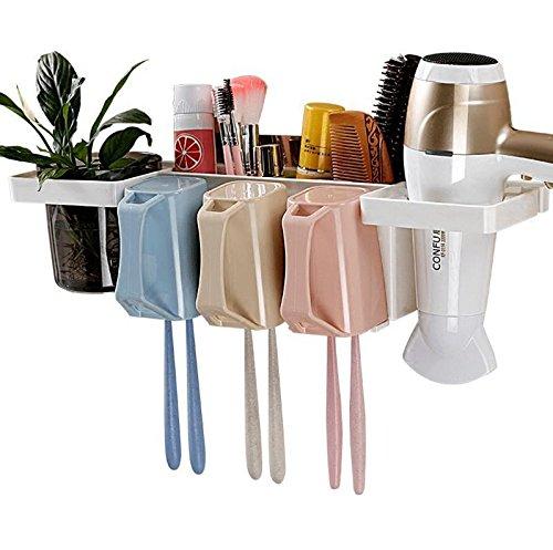 YASHUAJIA 6 Racks Staubgeschützter Wand-Zahnbürstenhalter mit Ablage und Mundwasserbecher - Für den Badezimmer-Familienhalter, sowohl für Erwachsene als auch für Kinder