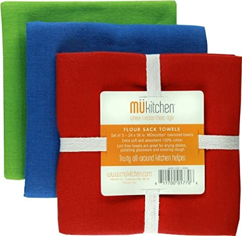 MUkitchen Cotton Flour Sack Towel, 24 by 36-Inches, Set of 3, Jewel by MUkitchen