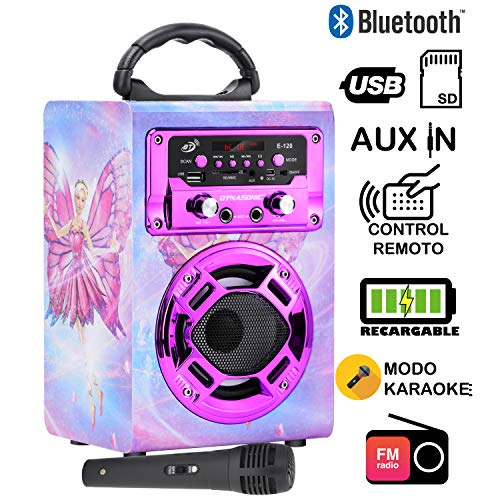 Dynasonic 120-4 - Mini Altavoz Bluetooth portátil, diseño Hada, Color Rosa