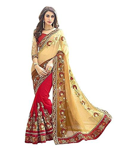 Saree Center Georgette Saree (SC_Patli_Beige_Free Size)