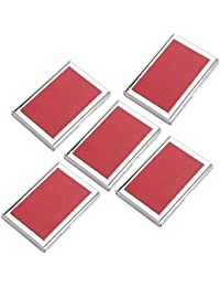 AmtiQ High Quality Stianless Steel & Synthetic Leather Red (Pack Of 5) ATM Card Holder