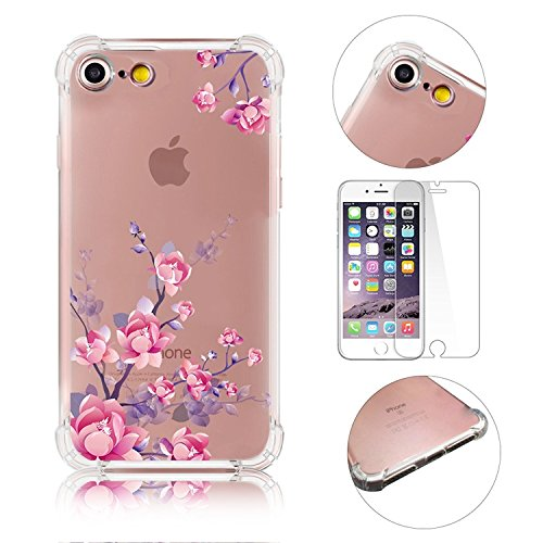 iPhone 7 Coque iPhone 7 Etui iPhone 7 Housse Case Cover,MingKun Ultra-Thin Crystal Clear TPU Silicone Clair Transparente Coque pour iPhone 7 Ultra Mince Premium Transparent Etui pour iPhone 7 Exact Fi Série fleurs-12