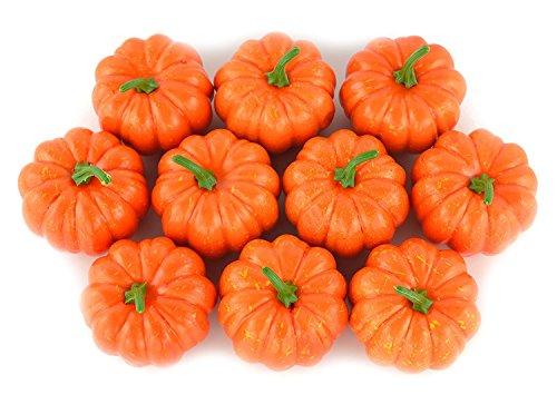 Mini zucche di halloween finte, decorazione per la casa e la cucina, 10 pezzi, colore: arancione