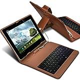 Aventus Braun Samsung Galaxy Tab S2 9.7 Verstellbare PU-Leder-Tastatur-Standplatz QWERTY Fall-Abdeckung für Android Tablet mit Micro-USB-Anschluss
