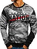 BOLF Herren Sweatshirt ohne Kapuze Pullover mit Aufdruck Pulli mit Rundhalsausschnitt Sport Casual Style 1A1 J.Style DD238 Grau L [1A1]