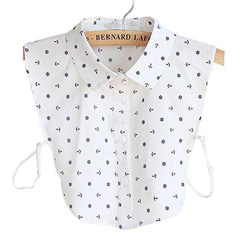 BeToper Frauen Kragen Abnehmbare Hälfte Shirt Bluse In Baumwolle Weiß