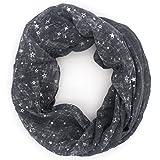Rohowsky Leichter Loop Schlauchschal mit Sternen - Verschiedene Varianten (Grau - Silber Sterne)