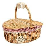 Aufbewahrungskorb Klein Picknickkorb Weidenkorb mit Deckel und Griff aus Holz Handgemachte Shopping Storage Hamper für Camping