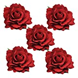DRESHOW 5 Pacco Fiore Spilla Testa Ornamento Sposa Donne Rosa Fiore Accessori Per Capelli Clip Di Capelli Da Sposa Ballerina Di Flamenco