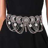 Agoky Damen Quaste geometrische Münze Kristall Gürtel Bauch Tanz Einstellbare Vintage Taille Körper Kette für Frauen Kleid Silber One_Size