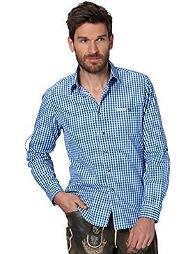 Stockerpoint Trachtenhemd Kariert Krempelarm Campos2 Blau, XL
