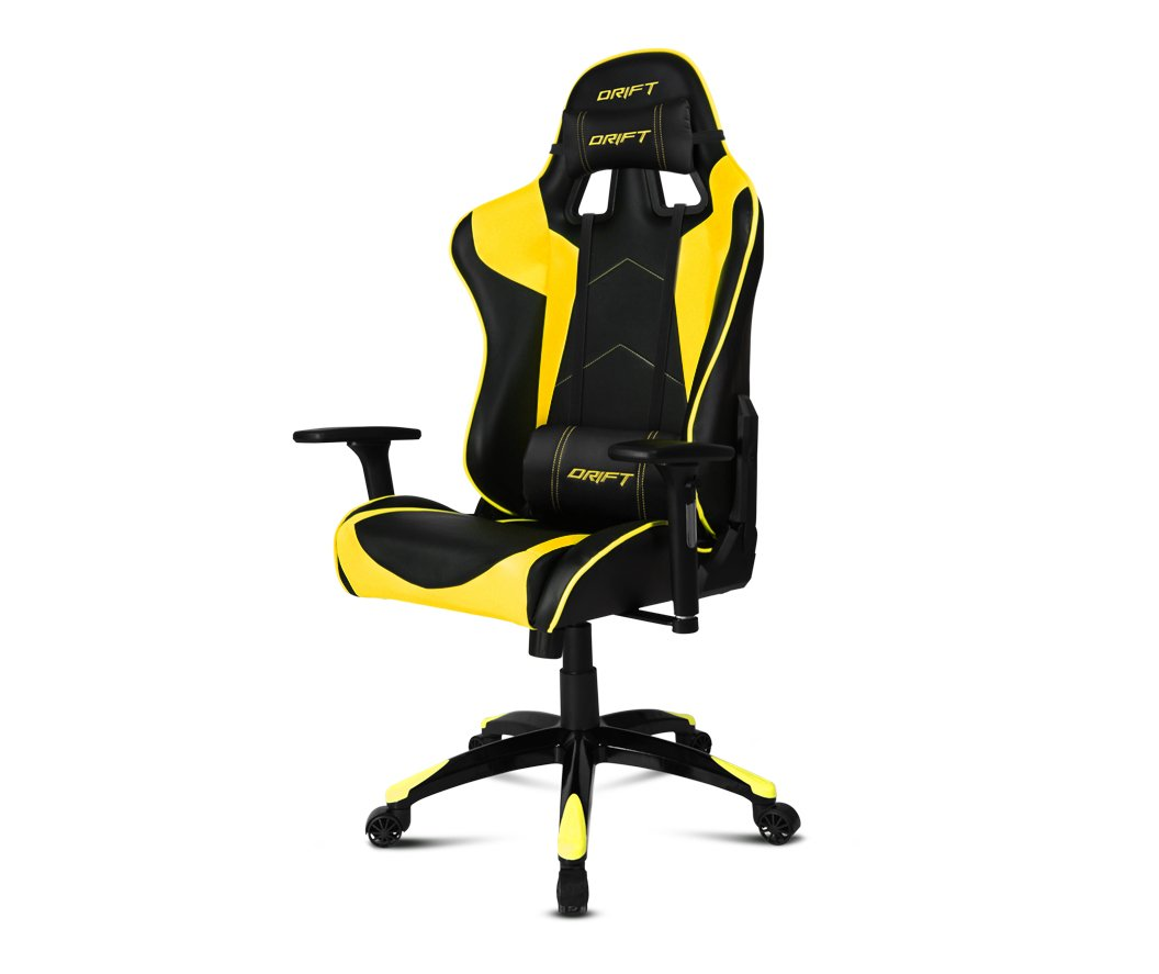 Drift DR300BY – Silla Gaming Profesional, (Polipiel Alta Calidad, Ergonómica), Color Negro/Amarillo