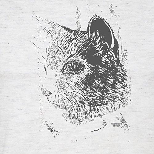 Modernes Herren Katzen-T-Shirt für Tier-Freunde als tolle Geschenk-Idee bis Größe 5XL / Katzenmotiv: Katze Farbe: grau Grau