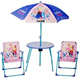 alles-meine.de GmbH Sitzgruppe - Tisch + 2 Kinderstühle + Sonnenschirm -  Disney die Eiskönigin - Frozen  - incl. Name - für Kinder - Campingstuhl - Klappstühle / kippsicher -..