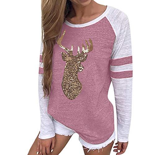 OverDose Damen Tuniken Pullover Festival Weihnachten Frauen Rentier -