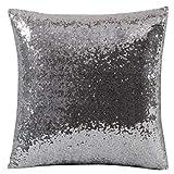 JiaMeng Otoño Lentejuelas de Brillo de Color sólido Throw Pillow Case Funda de Almohada para cojín (Gris,40cm*40cm)
