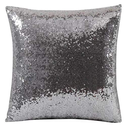 JiaMeng Otoño Lentejuelas de Brillo de Color sólido Throw Pillow Case Funda de Almohada para cojín...