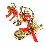 3 Stück Party Dekoration Ornamente Weihnachten Hirolan Weihnachten Baum Hängend Musical Instrumente Anhänger Neujahr Deko für Kinder Mädchen Holzanhänger Geburtstag Geschenk (Gold)