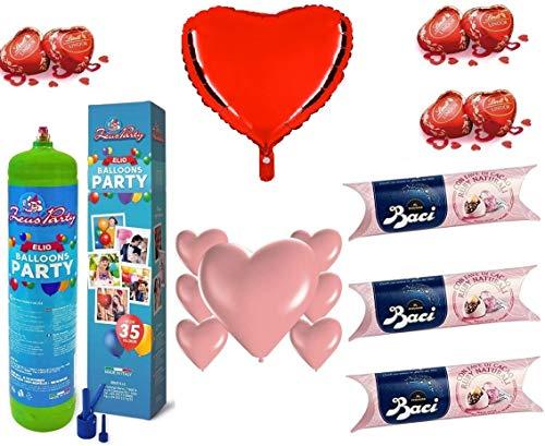 Zeus party kit set san valentino rosa-bombola di gas elio da 35 palloncini, tubo baci perugina rosa limited edition, 1 palloncino i love you ,20 palloncini rosa a cuore e 5 cioccolatini lindt omaggio