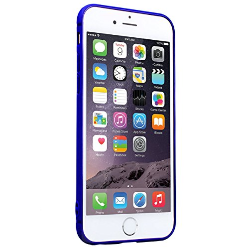SmartLegend iPhone 6 Plus 6S Plus Silicone Case with Ring Holder Kickstand, iPhone 6 Plus Soft Back Cover Blue, 2 in 1 Flexible Lightweight Anti-Scratch Solid Color Protection Slim Fit Gel Rubber Bump Blue