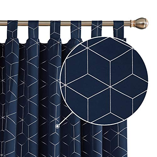 Deconovo Blickdichte Gardinen Verdunkelungsvorhang Schlaufen Thermo-Vorhang Silberne Raute 175x140 cm Dunkelblau 2er Set