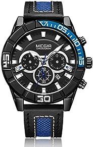 Megir Mens Quartz Watch, Chronograph Display and Leather Strap - 2066G