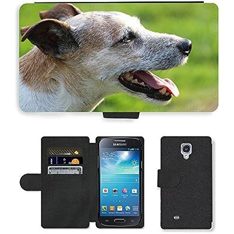 PU Flip Carcasa Funda de Cuero Piel Cubre Case // M00133651 Cane Capo Close Parson Russell Terrier // Samsung Galaxy S4 Mini i9190
