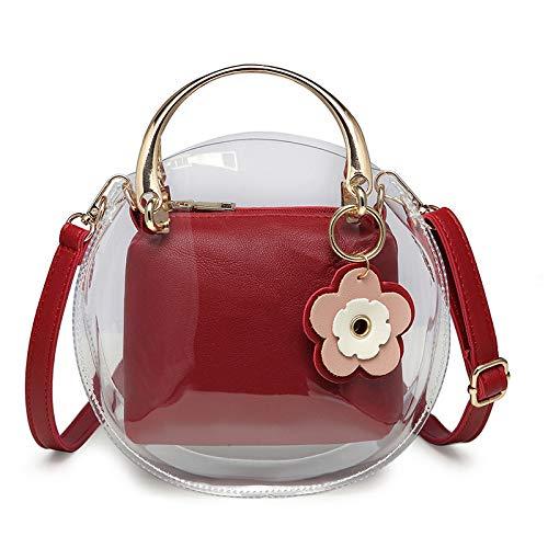 Ldyia Tasche transparente Tasche Blume transparente Mutter Tasche runde Tasche Damenhandtaschen Handtasche Umhängetasche, rot